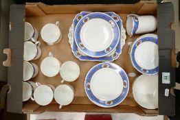 Shelley 2040 floral decorated tea set: 34 pieces