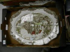 A very large Johnson Bros Heritage Hall patterned turkey platter: