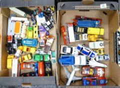 A large collection of Matchbox and similar Model toy cars & Vehicles (2 trays):