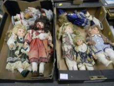 A collection of porcelain headed Gilde dolls: ( 2 trays)
