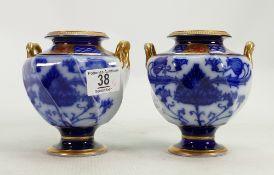 A pair of Moorcroft Macintyre Aurelian ware vases: height 13cm