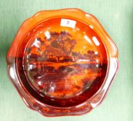 Large Royal Doulton Flambe shallow footed bowl signed Noke: Small chip and surface scratches,