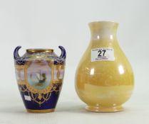 A Noritake vase: together with a Moorcroft Burslem yellow vase (2)
