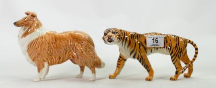 Beswick Tigeress: 1486 together with a collie dog
