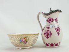 William Brownfield ewer: Together with a Copland & Garrett bowl (2)