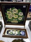 Tiled Fireguard with floral tube lined decoration: together with similar wall hanging item(2)