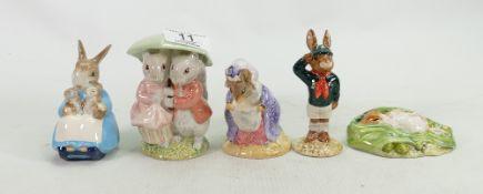Royal Albert Beatrix Potter figures: Goody Timmy Tiptoes, Timmy Willie sleeping,