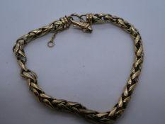9ct yellow gold bracelet, AF, marked 375, 11.9g
