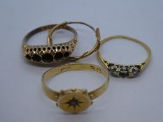 18ct yellow gold ring AF, weight approx 1.2g, two other 9ct yellow gold rings AF and yellow metal ea