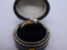 9ct yellow gold cross over diamond ring, marked 375, approx 0.20 carat, weight approx 1.8g, size Q
