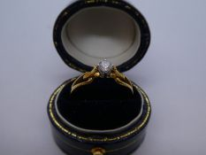 18ct yellow gold solitaire diamond ring, marked 750, size Q, approx 0.10 carat