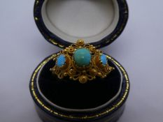 Pretty yellow metal ring set with turquoise, K/L