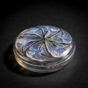 René Lalique, 'Mésanges' lidded box, 1921'Mésanges' lidded box, 1921D. 17 cm. Clear, moulded
