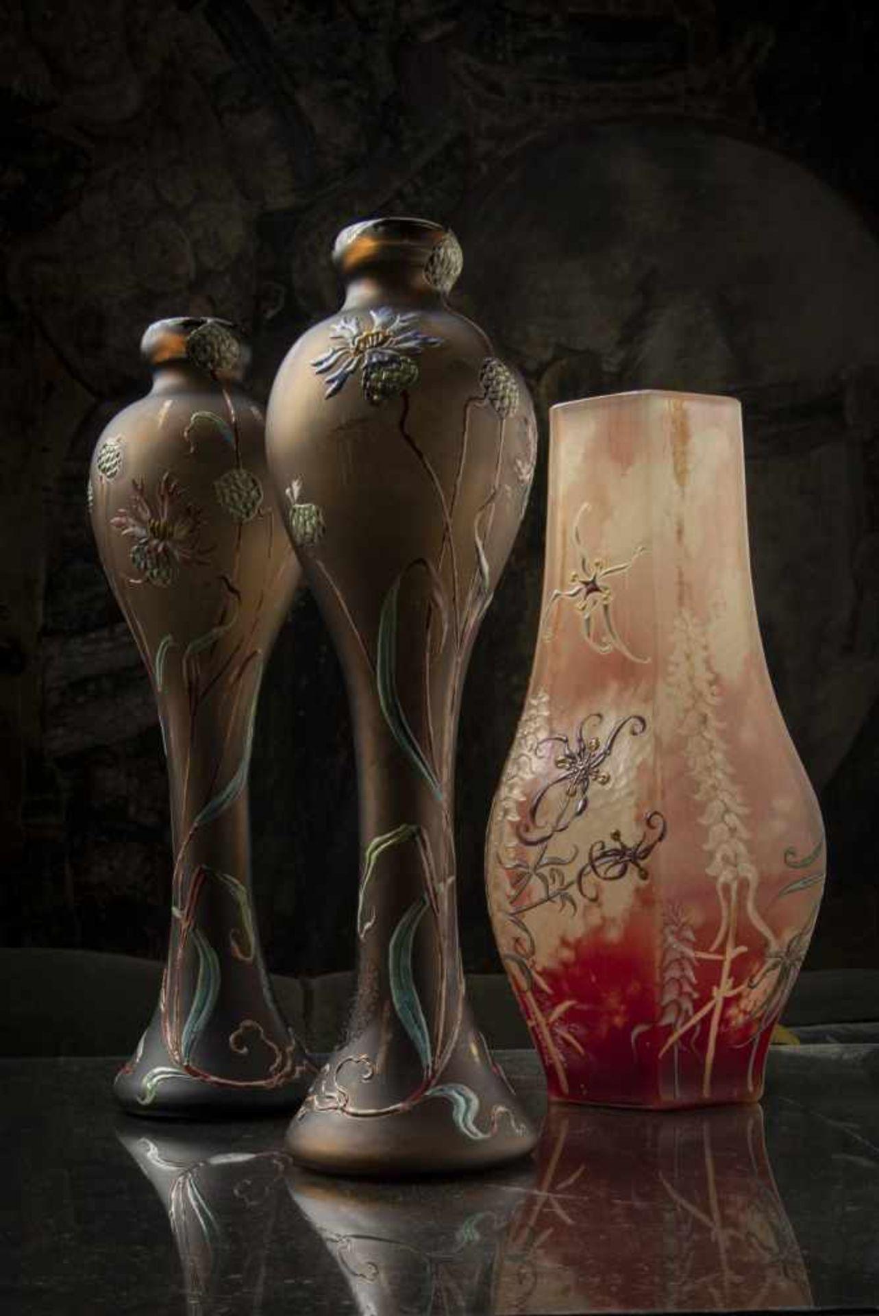 Verrerie d'Art de Lorraine, Burgun Schverer & Cie., Meisenthal, Pair of vases 'Bleuets', c. 1895- - Bild 5 aus 13
