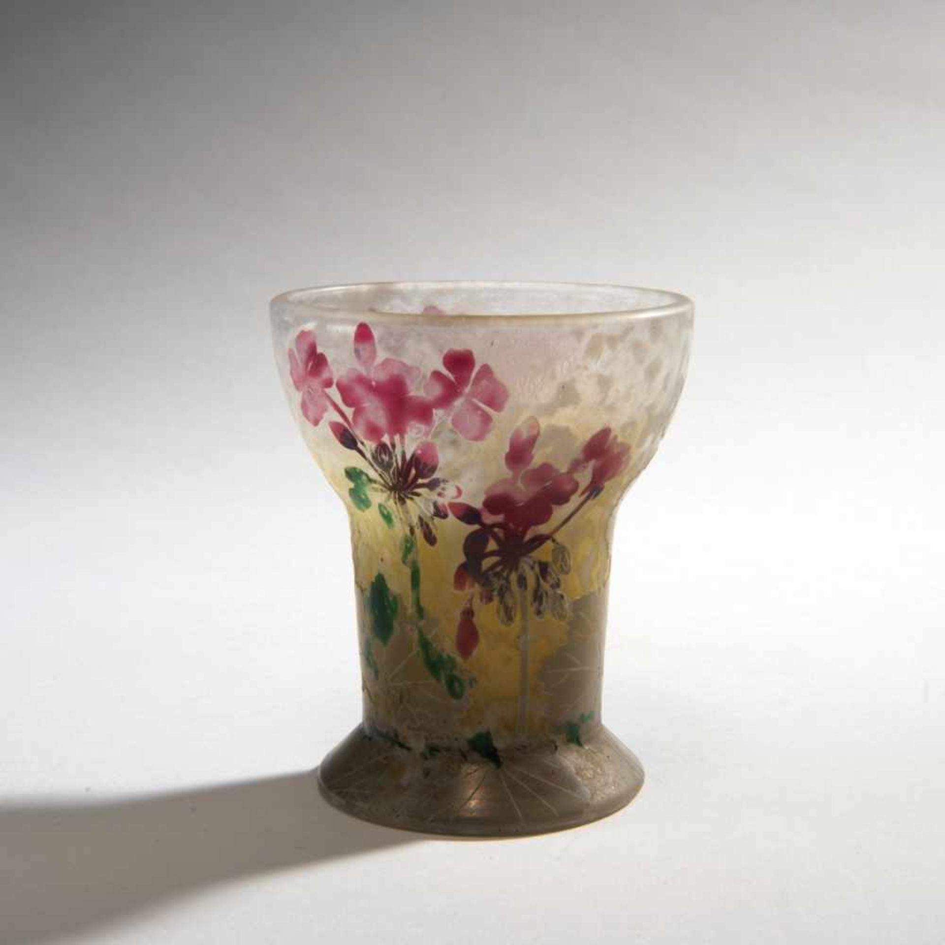 Daum Frères, Nancy, 'Géraniums, Pâte grise' vase, 1902
