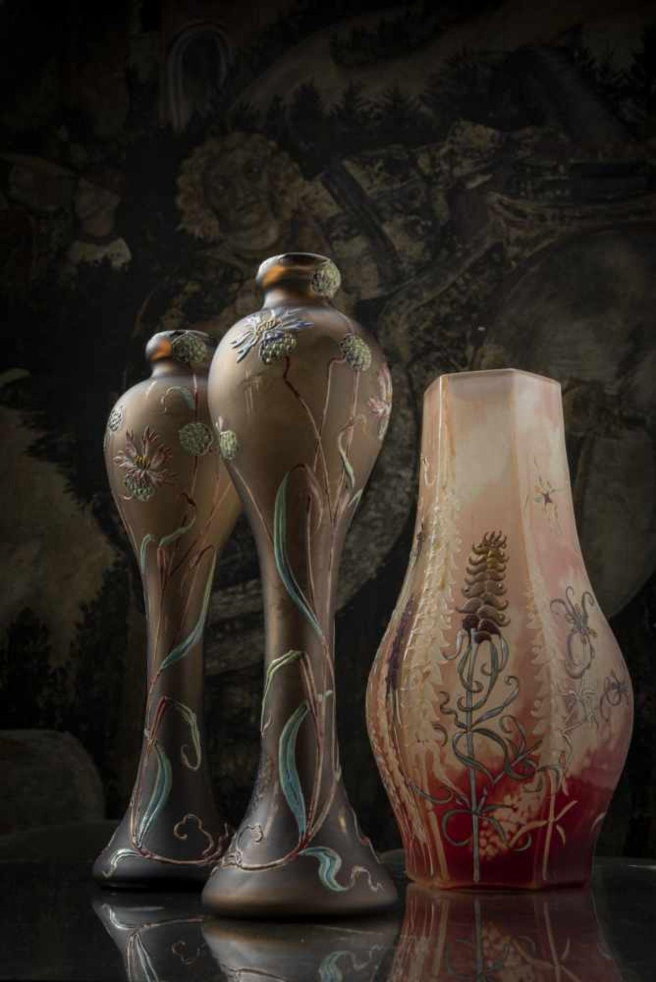 Verrerie d'Art de Lorraine, Burgun Schverer & Cie., Meisenthal, Pair of vases 'Bleuets', c. 1895- - Bild 4 aus 13