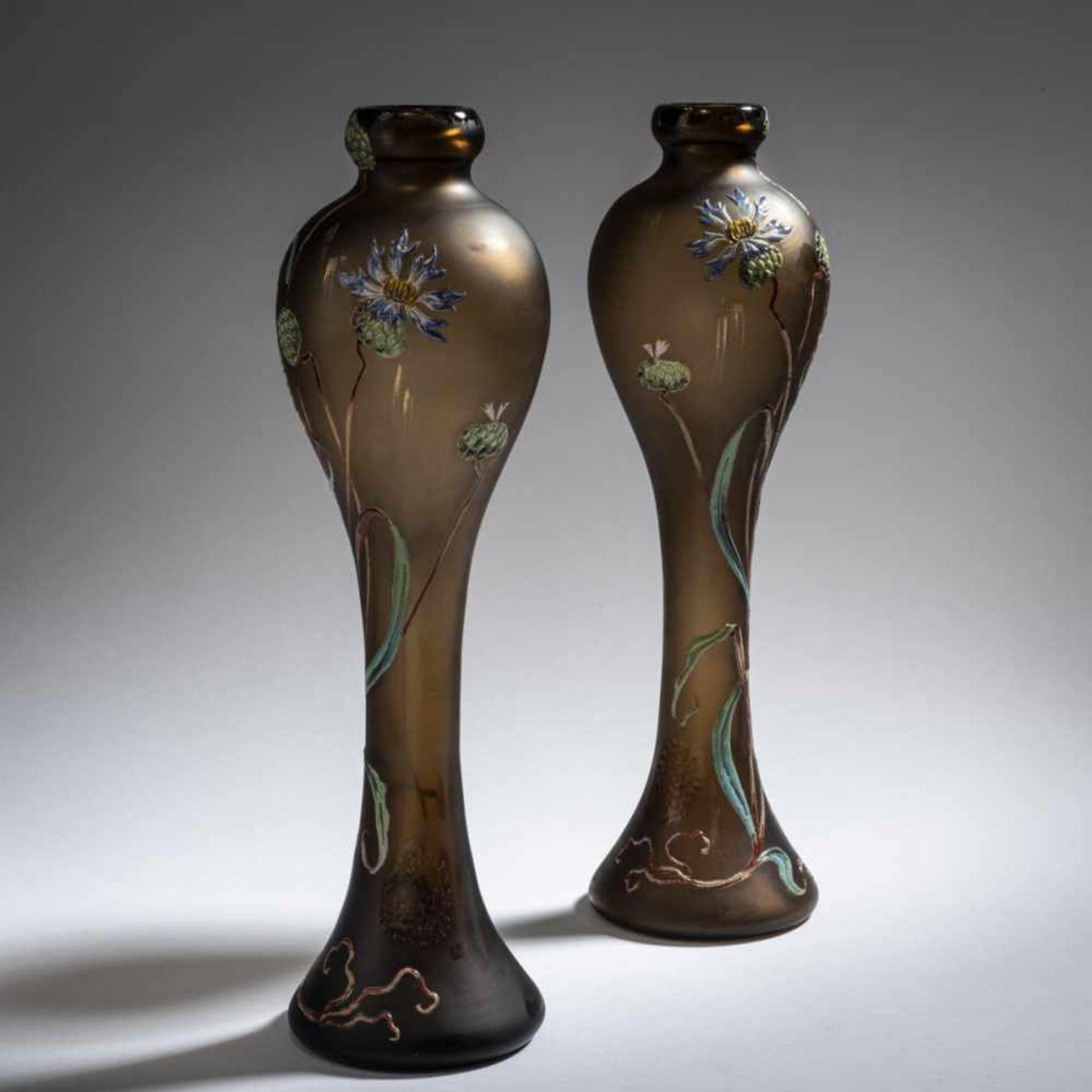 Verrerie d'Art de Lorraine, Burgun Schverer & Cie., Meisenthal, Pair of vases 'Bleuets', c. 1895-