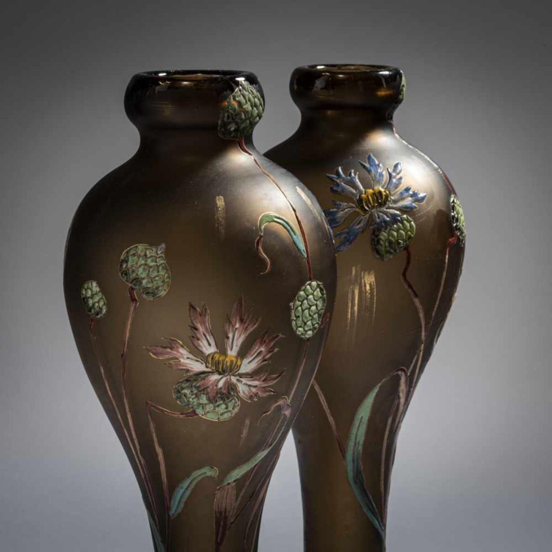 Verrerie d'Art de Lorraine, Burgun Schverer & Cie., Meisenthal, Pair of vases 'Bleuets', c. 1895- - Bild 9 aus 13