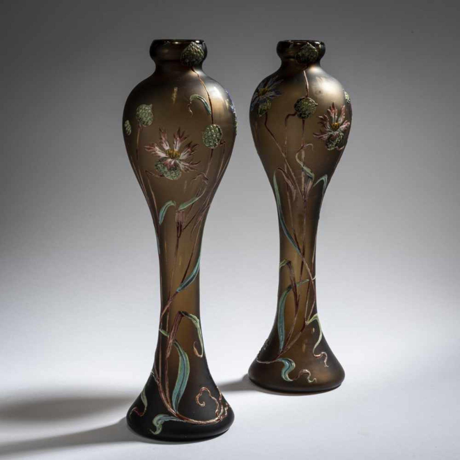 Verrerie d'Art de Lorraine, Burgun Schverer & Cie., Meisenthal, Pair of vases 'Bleuets', c. 1895- - Bild 6 aus 13