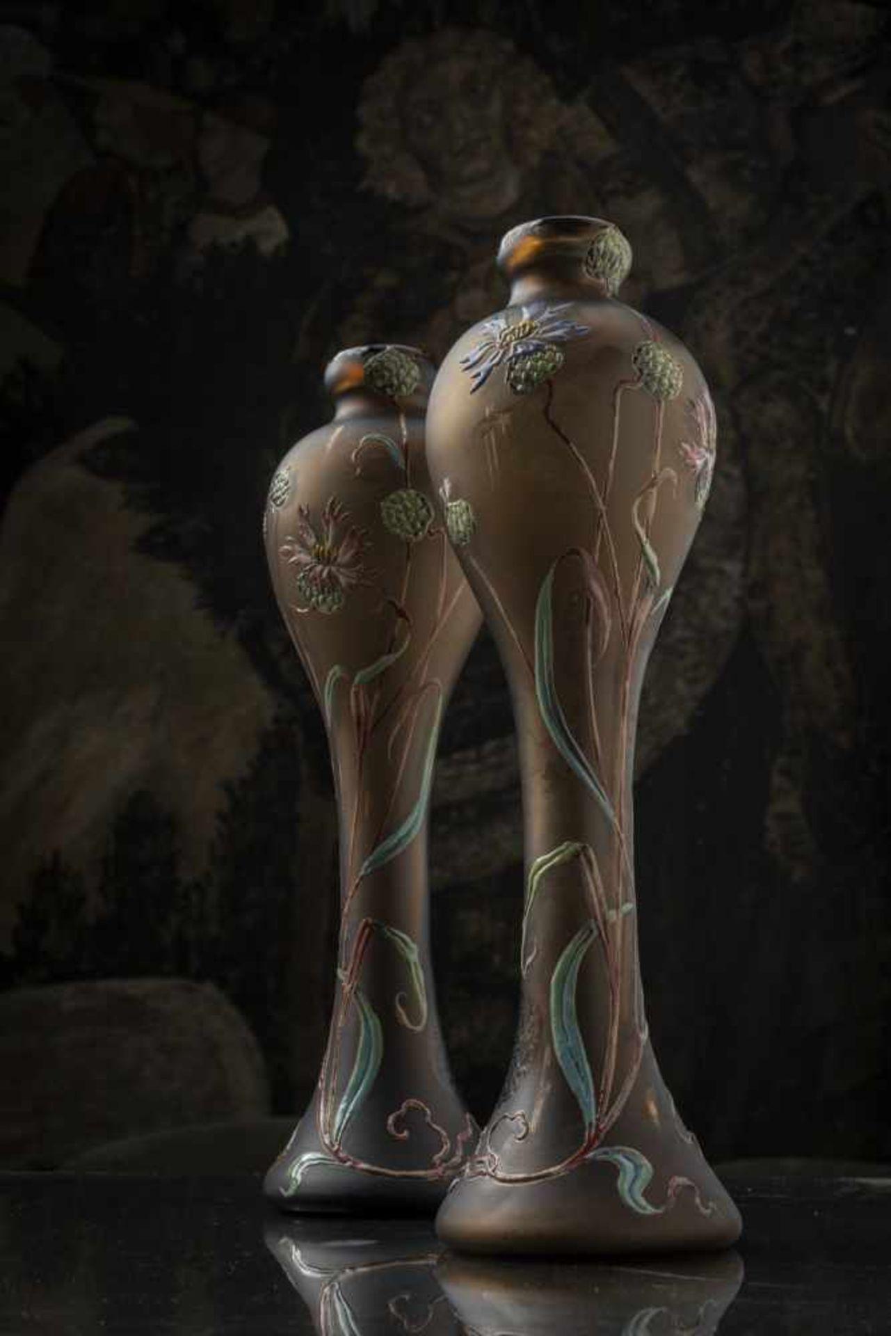 Verrerie d'Art de Lorraine, Burgun Schverer & Cie., Meisenthal, Pair of vases 'Bleuets', c. 1895- - Bild 12 aus 13
