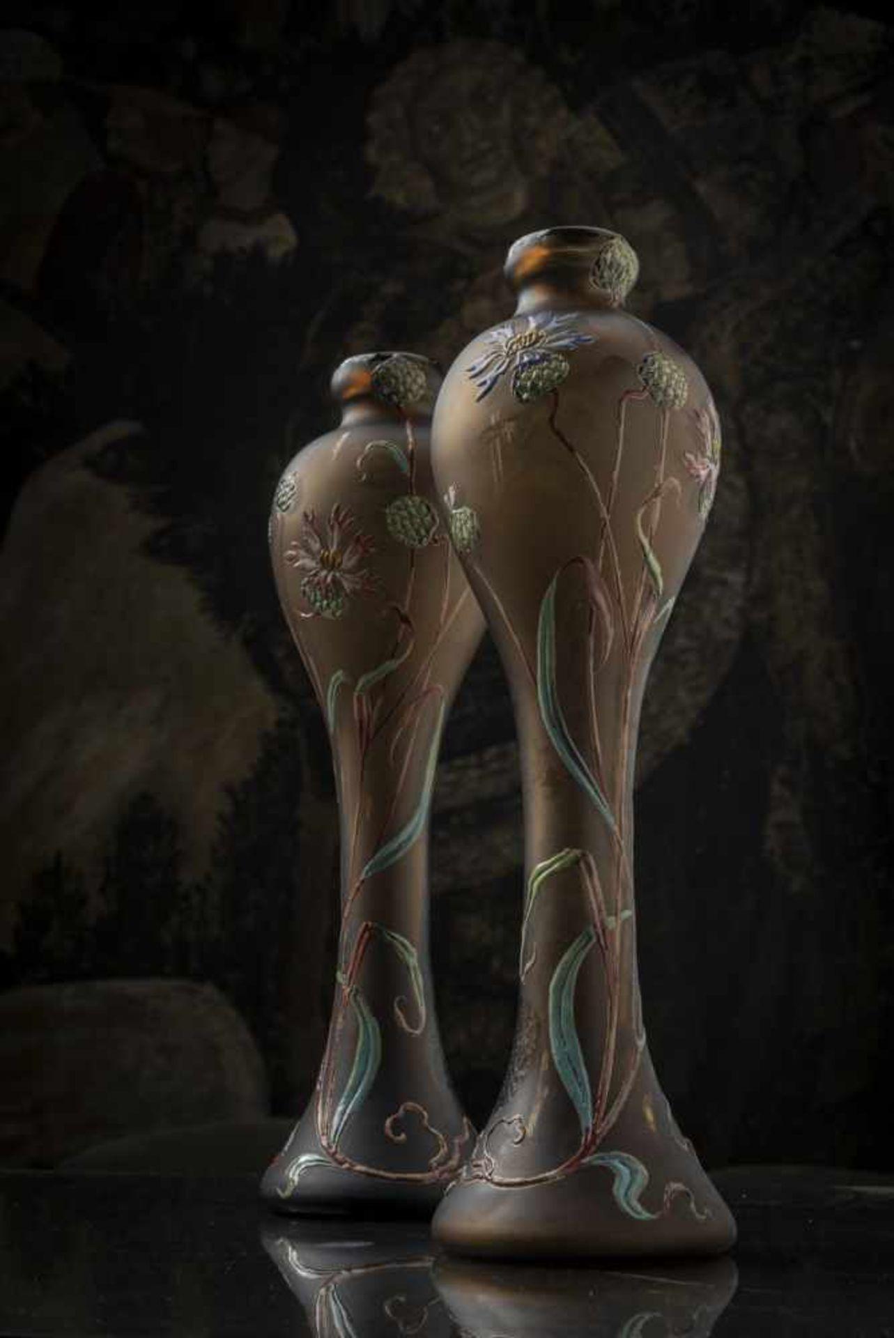 Verrerie d'Art de Lorraine, Burgun Schverer & Cie., Meisenthal, Pair of vases 'Bleuets', c. 1895- - Bild 13 aus 13
