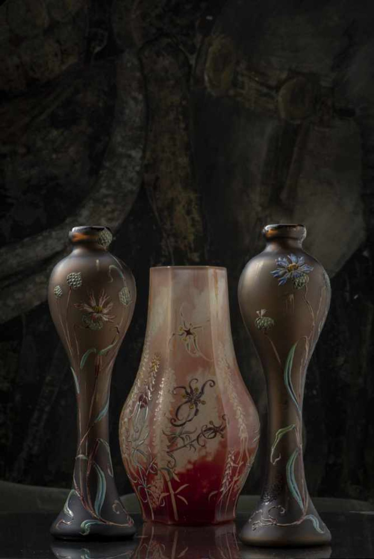 Verrerie d'Art de Lorraine, Burgun Schverer & Cie., Meisenthal, Pair of vases 'Bleuets', c. 1895- - Bild 2 aus 13