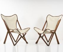 Vittoriano Viganò, Set of two 'Tripolina' folding armchairs, 1930s