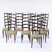Italy, Set of eight side chairs, 1940s