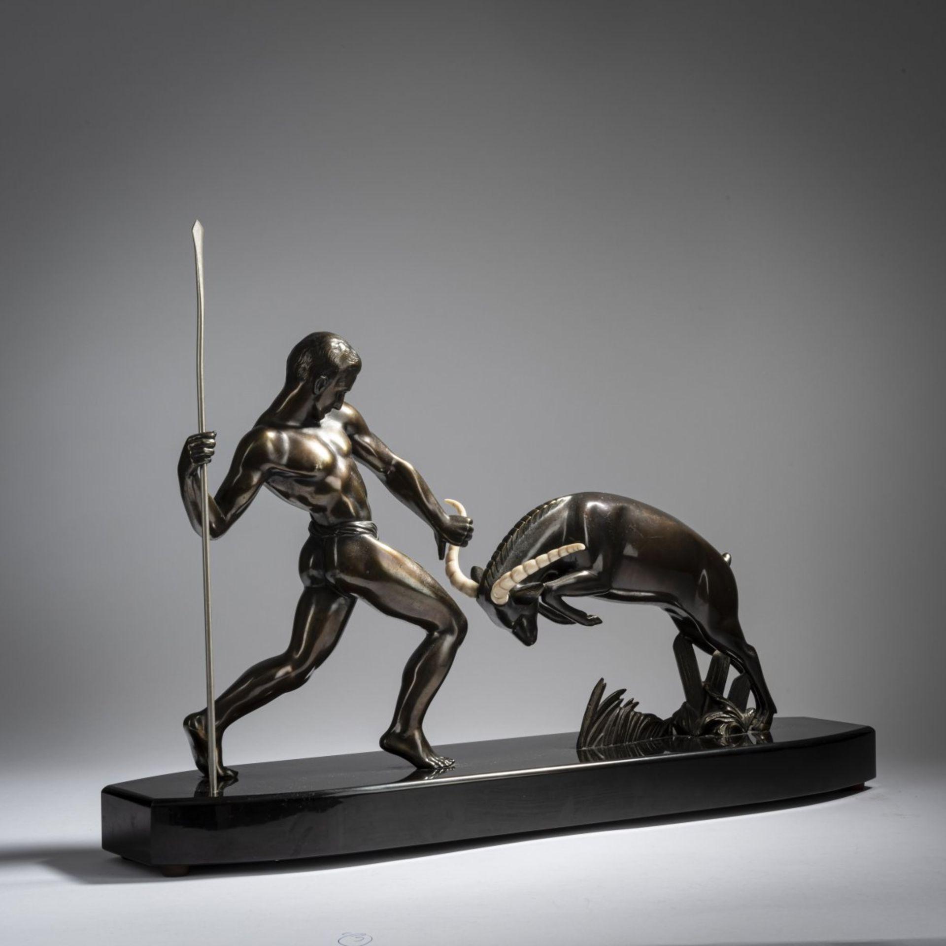 Salvator Riolo; Kowas, Jäger mit Antilope, um 1930 - Bild 2 aus 8