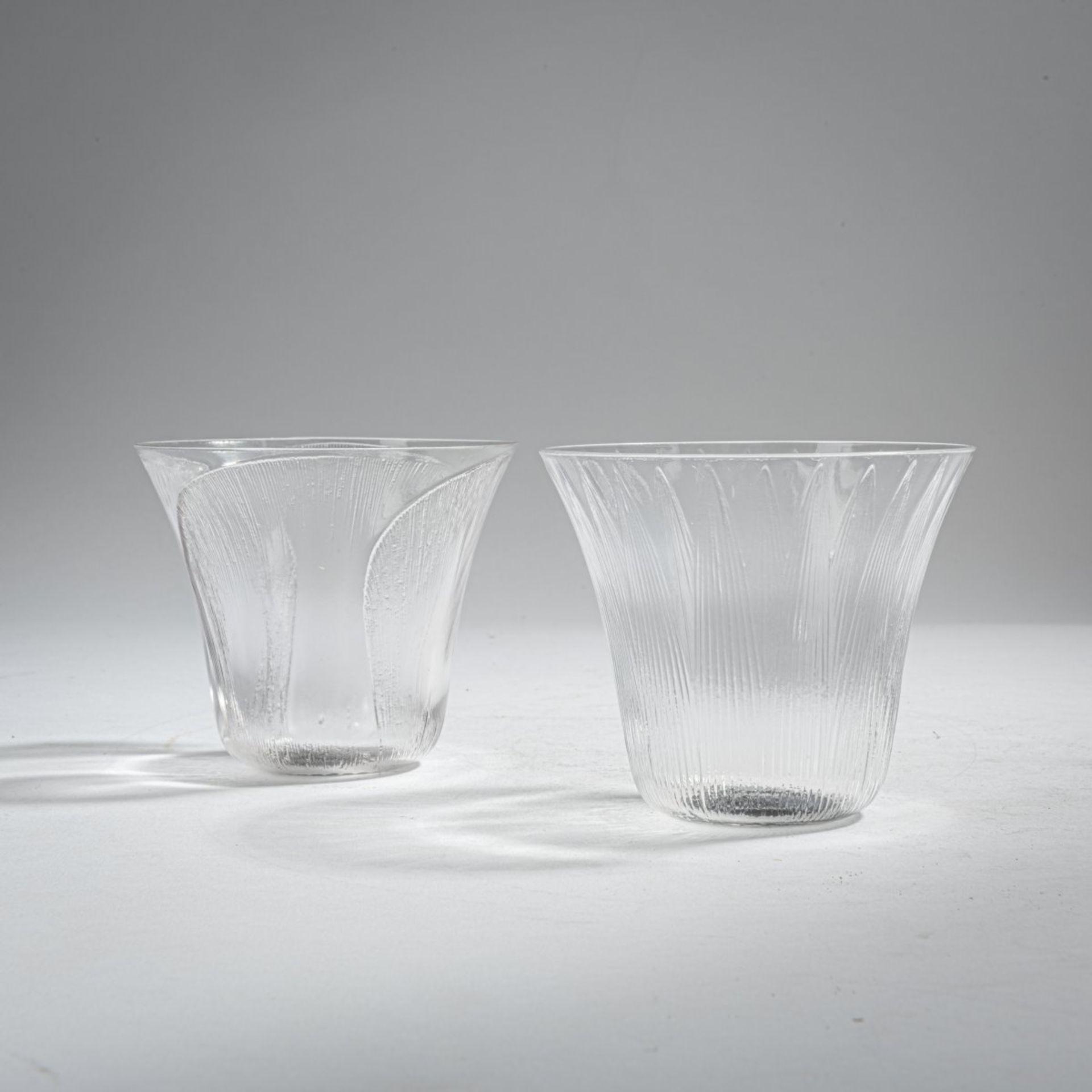 René Lalique, Zwei Trinkgläser 'Lotus' und 'Pavot', 1922