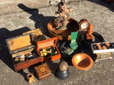 Miscellaneous treen including a carved Japanese figure, pokerwork boxes, a leather ball on stand,