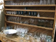 Miscellaneous glass including sets of drinking glasses, cut crystal, a German art glass bowl, vases,