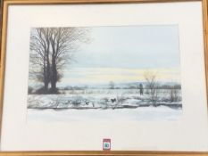Derick Bown, watercolour, winter landscape with shooter, ducks & dog, signed and dated, mounted &