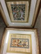 A pair of Egyptian papyrus style paintings, hunting lions and King Tutankhamen etc, the signed