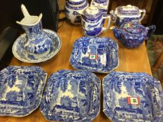 A set of four square Spode bowls; and miscellaneous other blue & white ceramics including a small