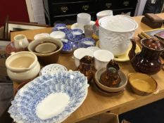Miscellaneous ceramics including terracotta dishes, a pair of Victorian copper lustre jugs, a