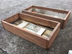 A near pair of rectangular pine planters, made up from old 1.5in scaffolding boards. (46in x 21in
