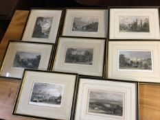 A set of eight Northumbrian handcoloured nineteenth century steel engravings - Durham, Alnwick,