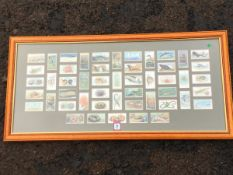 A complete set of 50 Wills cigarette cards, Wonders of the Sea, mounted & framed with glazed