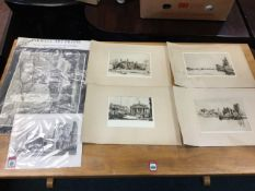 A set of four unframed and mounted London sepia etchings signed in pencil on margins - Henry Lambert