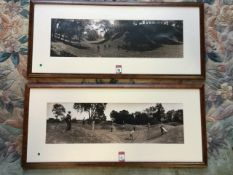A pair of monochrome wide-angled photographs of golfers from the Edwardian era, the shadowed sepia