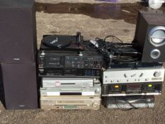 Miscellaneous hi-fi gear including speakers, two record decks, Sony, Panasonic, Technics, tape & DVD
