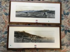 A wide-angled print of an Edwardian Scarborough beach scene, the plate with sepia tones, mounted &