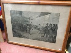 A large Victorian monochrome print after Seymour Lucas depicting the Spanish surrendering to Sir