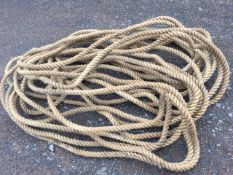 A long hemp rope, one length @ approx 180ft - suit tug-o-war teams.