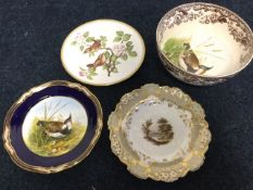 A nineteenth century Davenport plate painted with a country river landscape scene, with floral
