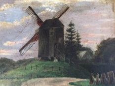 C20th oil on board, landscape with windmill, signed indistinctly, gilt framed. (10in x 7.25in)