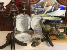 Miscellaneous items including a set of three Maling grammar school blue & white plates, a frosted