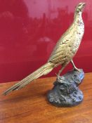 Leon Bureau, bronze, gilt patinated cock pheasant standing on bramble encrusted naturalistic rock
