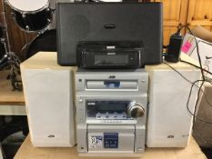 A boxed JVC music centre with CD player, cassette and radio and twin speakers; and a Sony audio